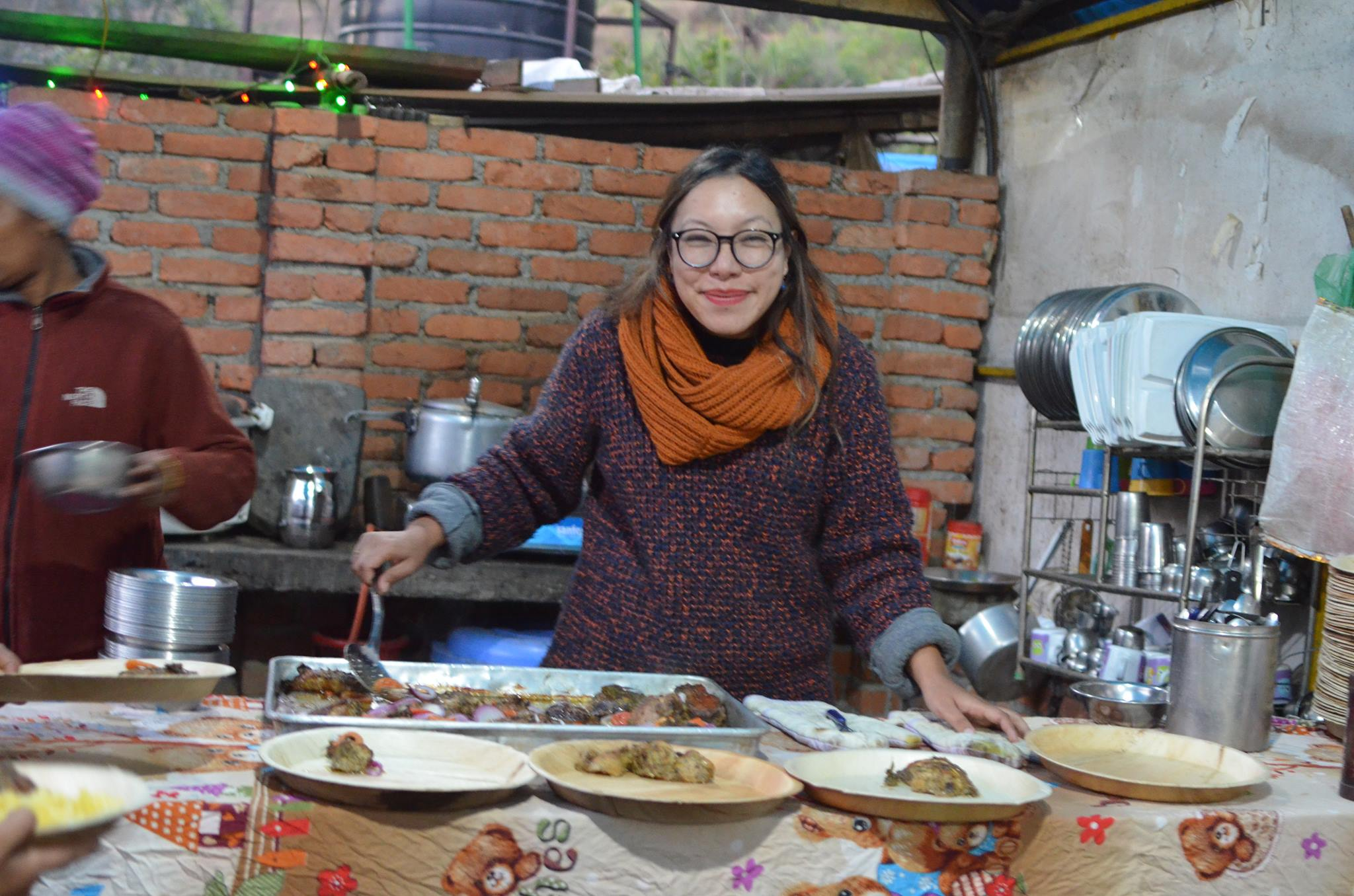 Our founder Haushala Thapa serves up a healthy dinner.