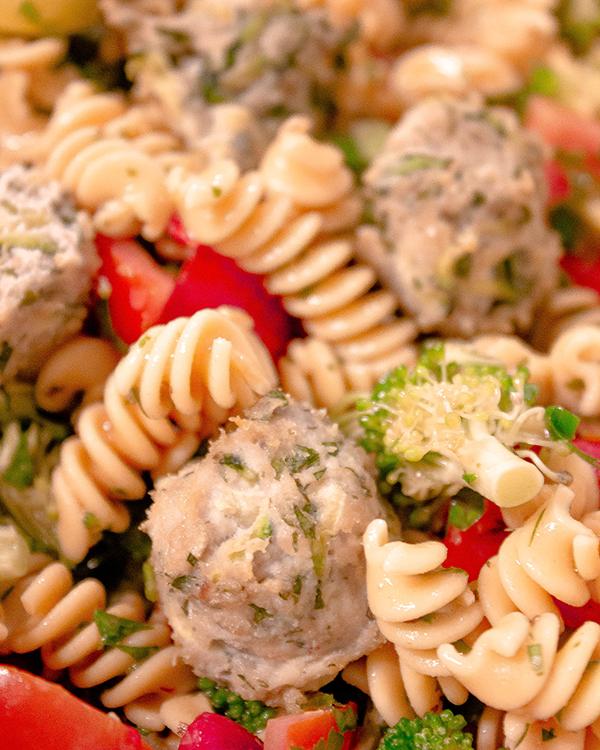 Loaded Veggie Pasta Salad with Chicken Meatballs