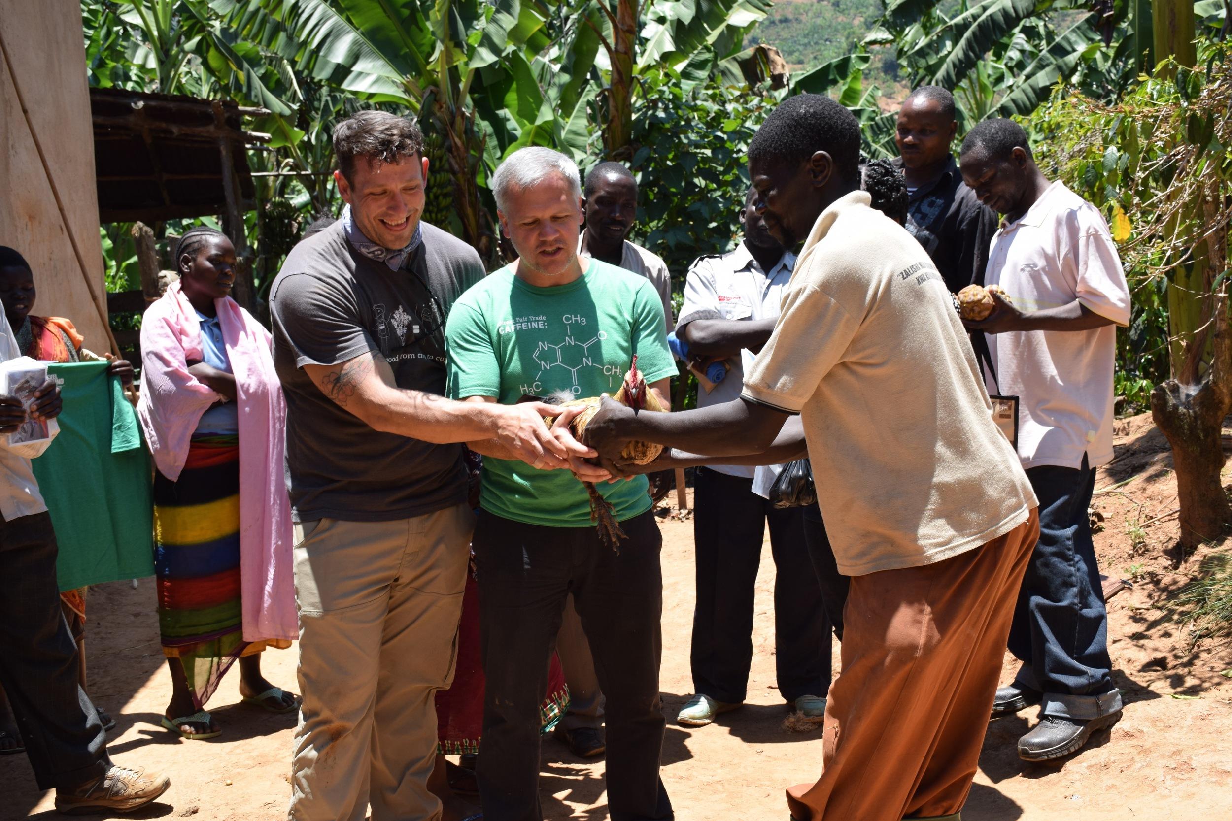 josh, hugo and a chicken in tanzania
