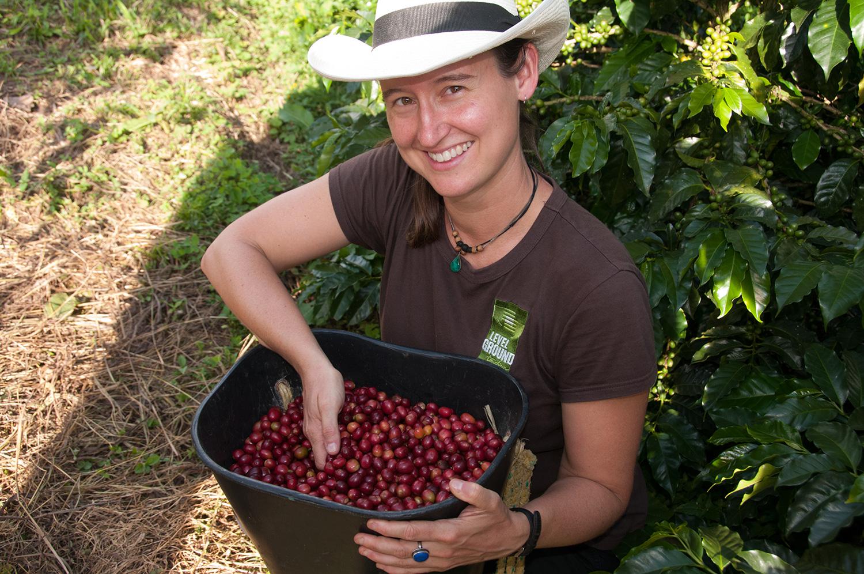 Carol Picking Colombian Coffee