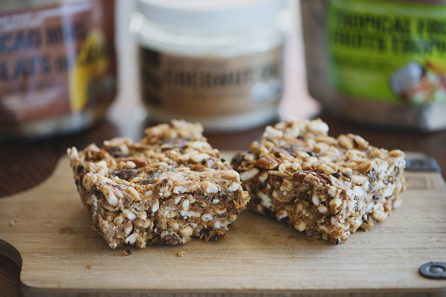 fruit and nut bar with cacao nibs