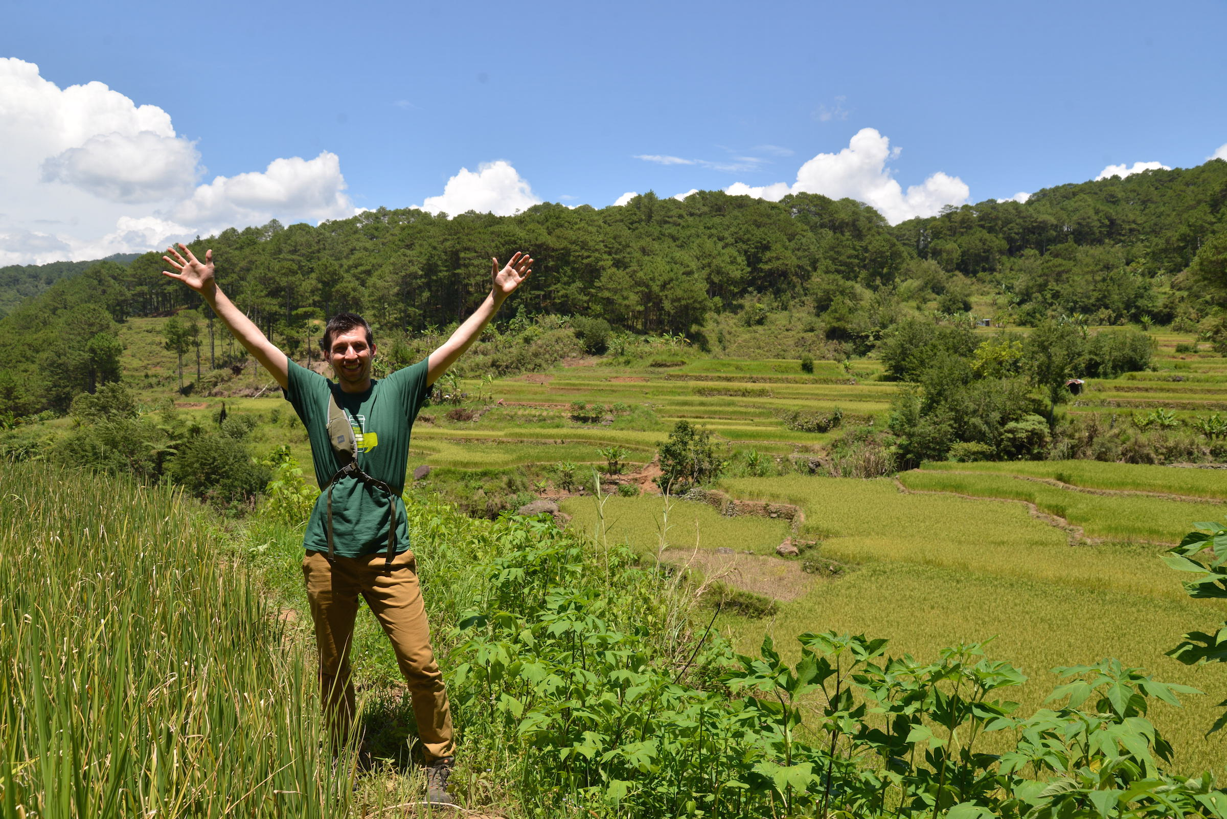 Paul celebrates among the rice paddies in Philippines.
