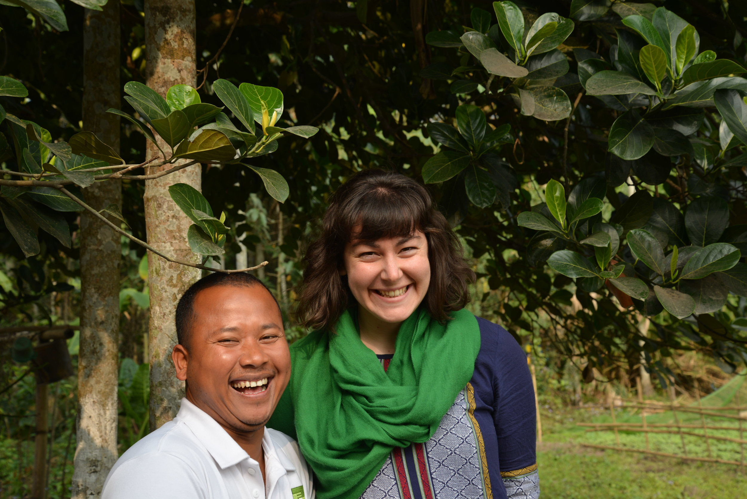 Level Ground staff, Wyn, shares a laugh with Tenzing at his home in Assam.