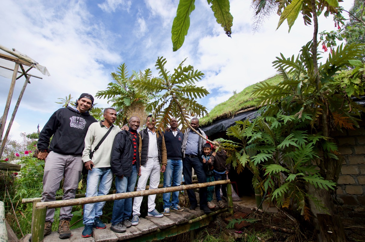 Germán Betancourt, Organic Development Leader (far left) with organic pineapple farmers from the Cauca region.