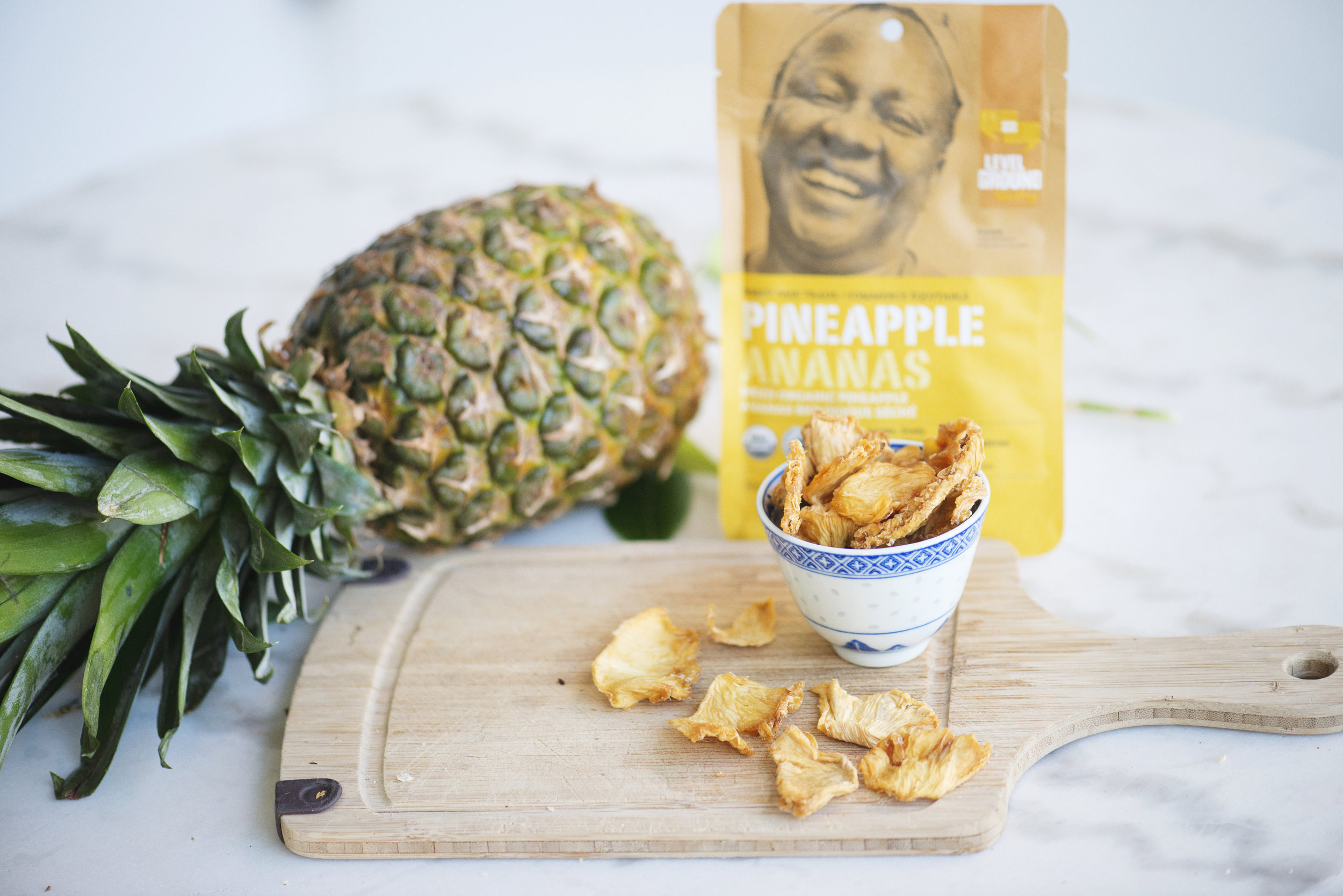The finished product. Our pineapple package features the face of Susanna Balanta.