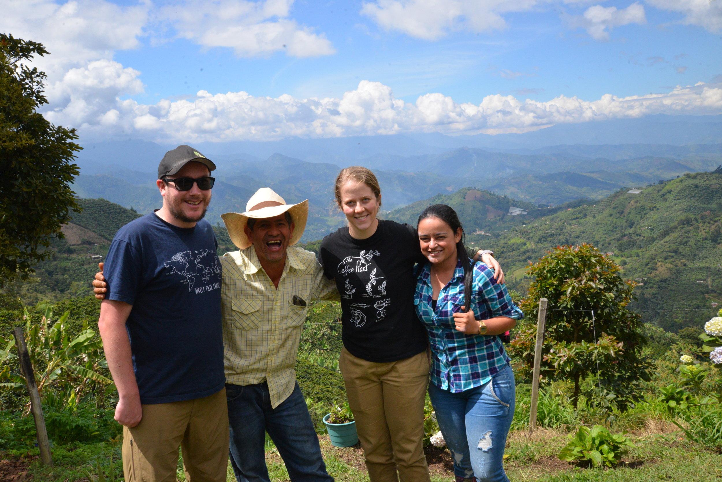 Dave (Level Ground), Jaime, Robyn (Level Ground), and Elizabeth (Famicafé) visit at Jaime's farm.
