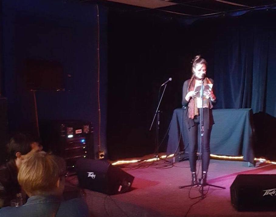 A reader onstage