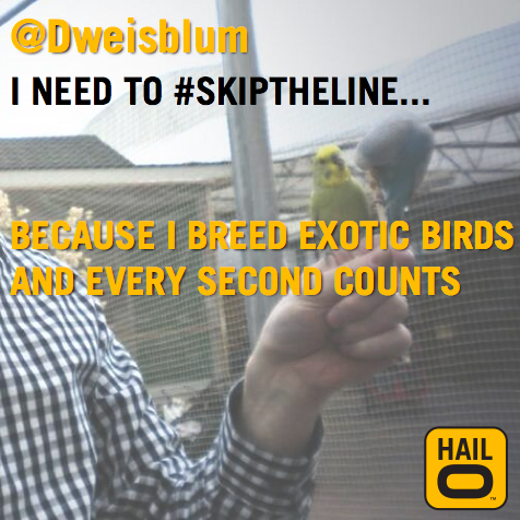I designed and posted images of winning #SkipTheLine tweets