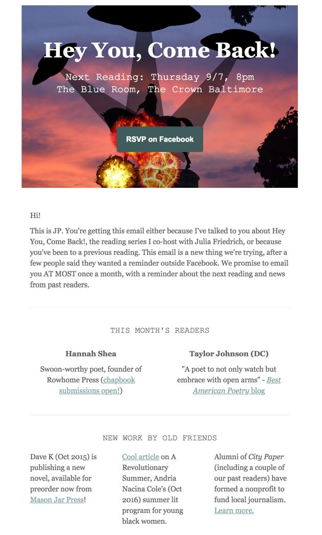 Email newsletter (click for larger image)