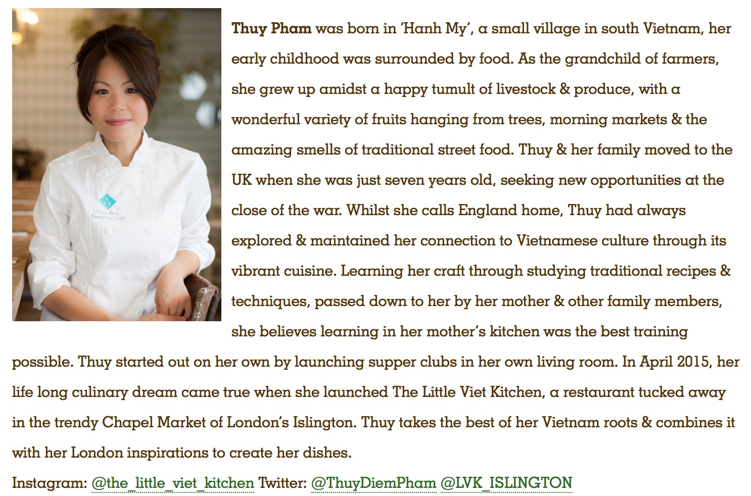 Thuy will be cooking at the Aldeburgh Food & Drink Festival this September! Drop by to try some of her delicious cooking.  https://www.aldeburghfoodanddrink.co.uk/visit-suffolk/visiting-chefs-2017