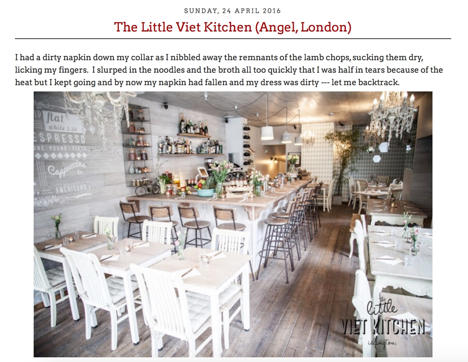 The team at Happy Belly swung by and enjoyed a delicious feast with us recently, check out their review!   http://happyxbelly.blogspot.com/2016/04/the-little-viet-kitchen-angel-london.html