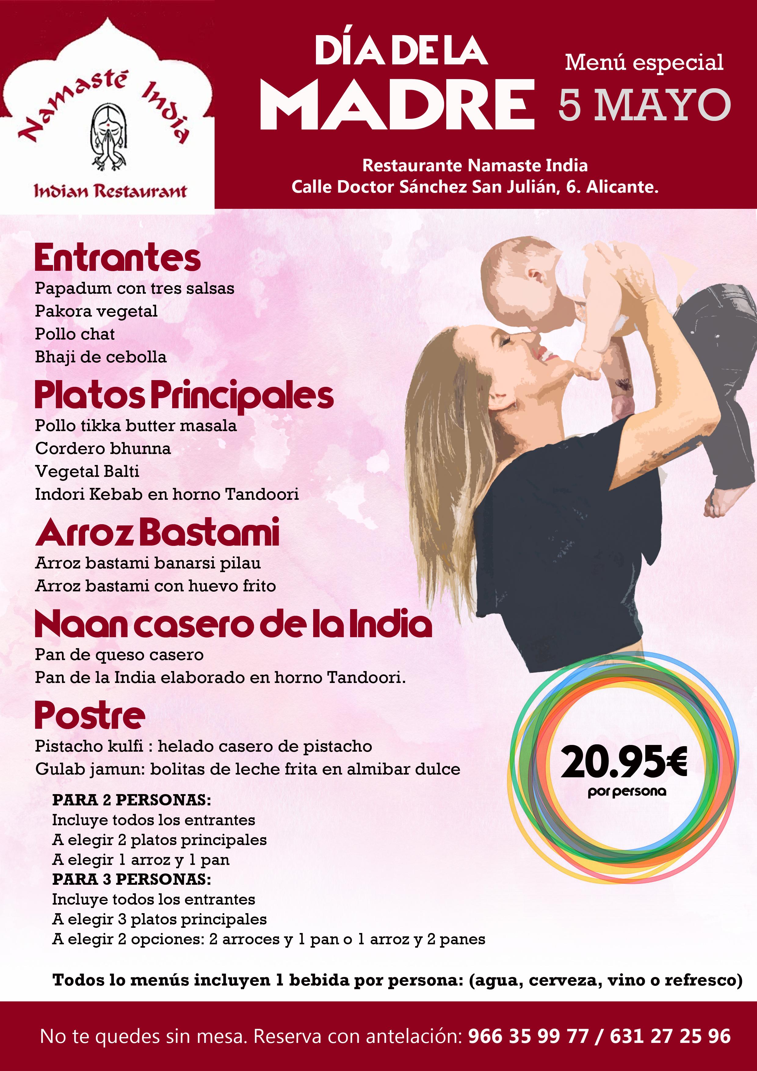 Menú Día de la Madre 2019  Namasté India Alicante
