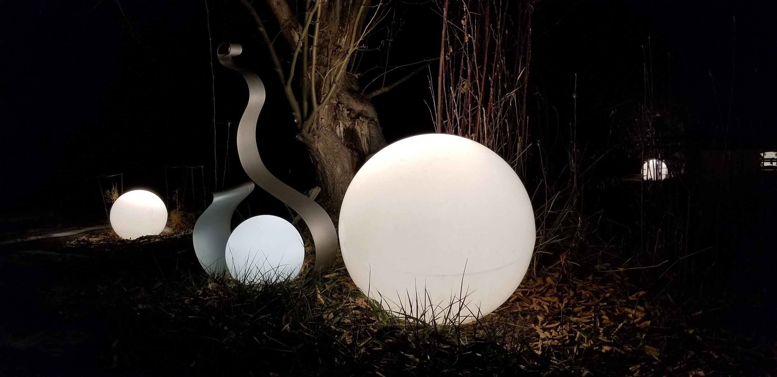 Globe landscape lighting.
