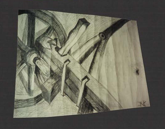 Charcoal and pencil on card stock.