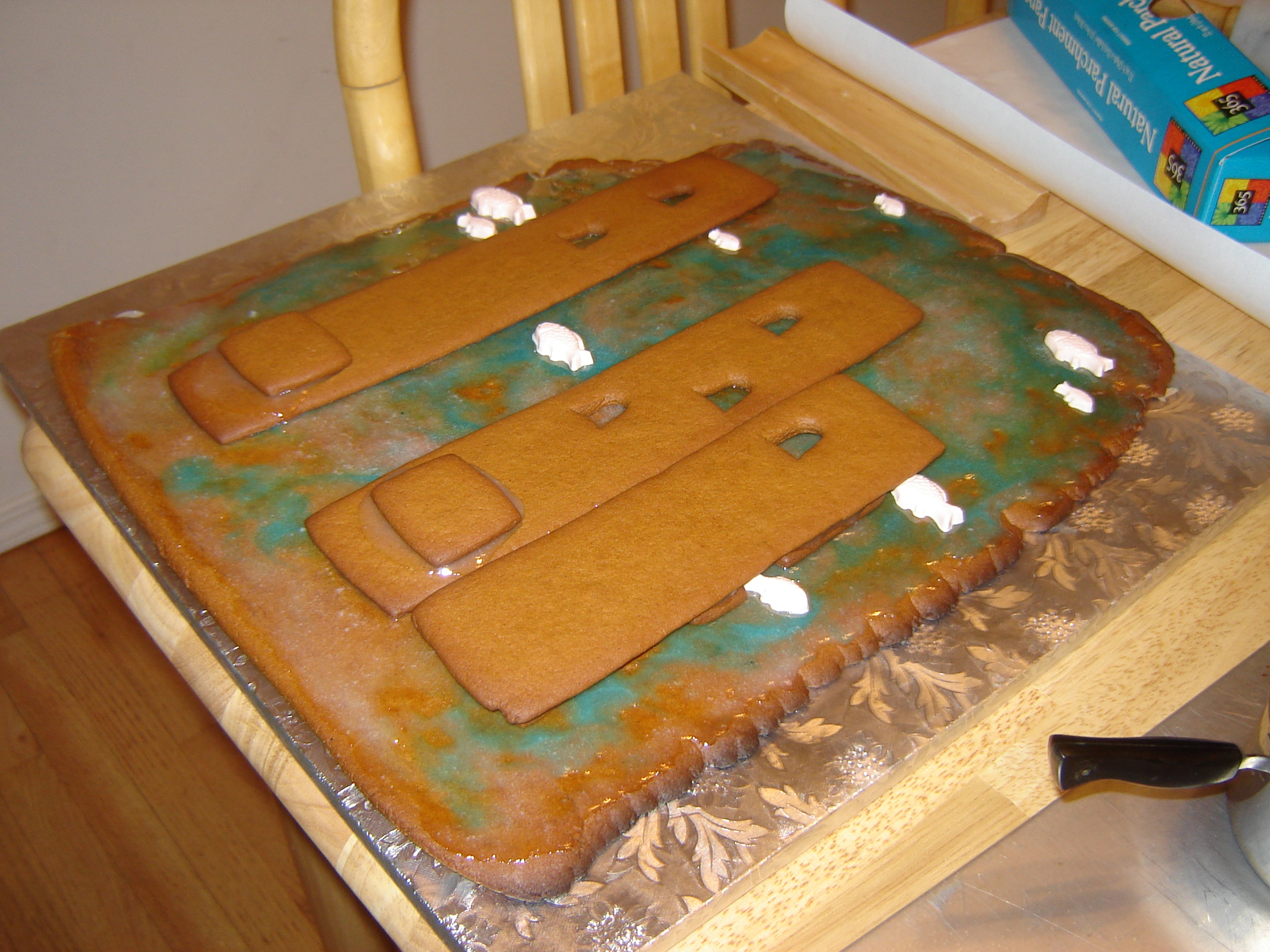 Underwater castle as a giant gingerbread cookie.