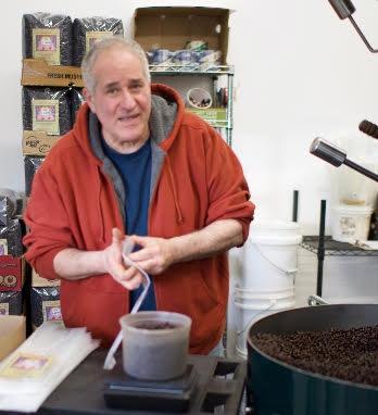 Michael bagging dark roast.
