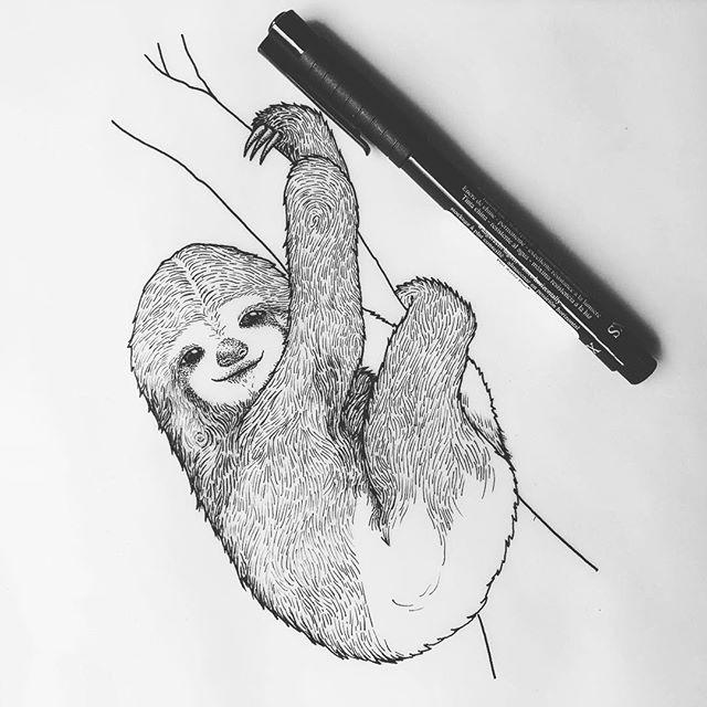 💤 - My spirit animal 😅👌🏼 - #art #drawing #inkdrawing #artistoninstagram #ATLartist #pointillism #stippling #linedrawing #blackandwhiteart #pen #penandink #dotworkers #dotwork #linework #sloth #slothdrawing - © Rafaella Studart, 2019