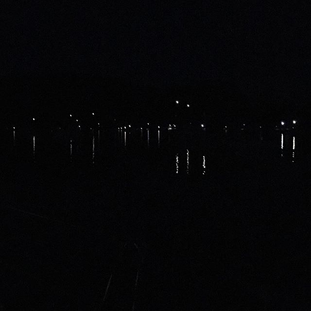 Anchor lights at night in Montague Harbour on September 1st.