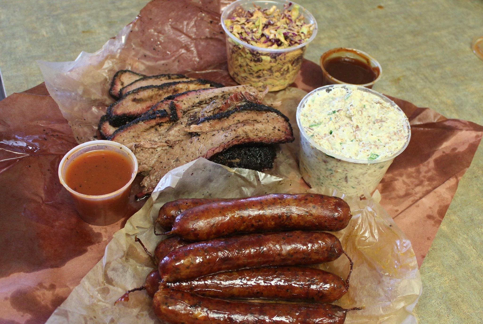 Brisket,sausage, chipotle slaw, potato salad