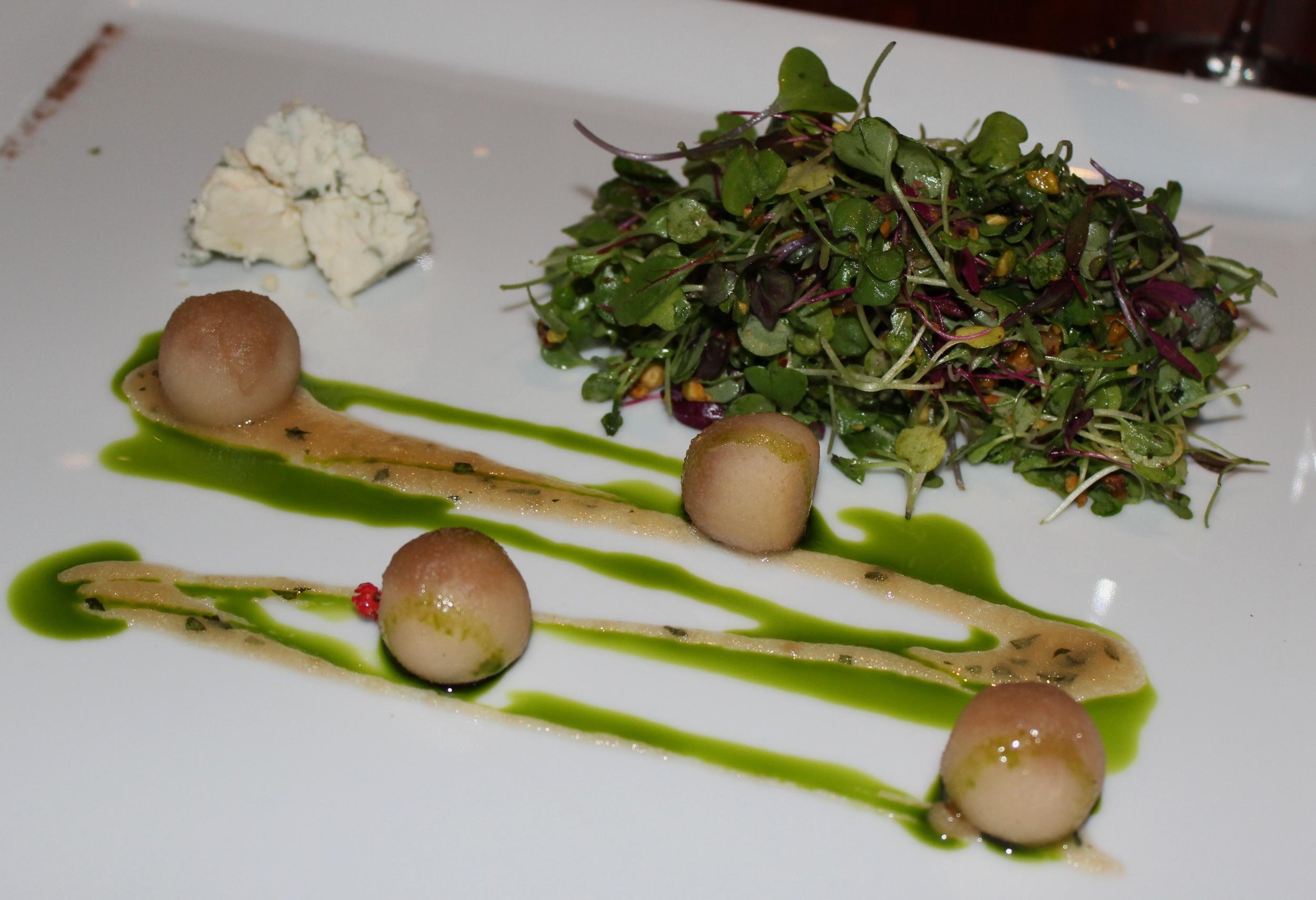 Cider-Poached Pear, Micro Herbs. Gorgonzola, Caramelized Pear-Cinnamon Vinaigrette