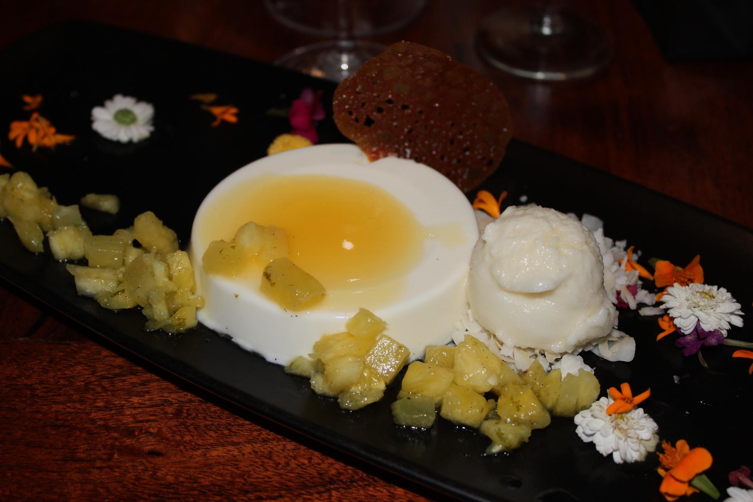 Greek Yogurt Panna Cotta with Passion Fruit Mango Tuile and Pineapple & Coconut Sorbet