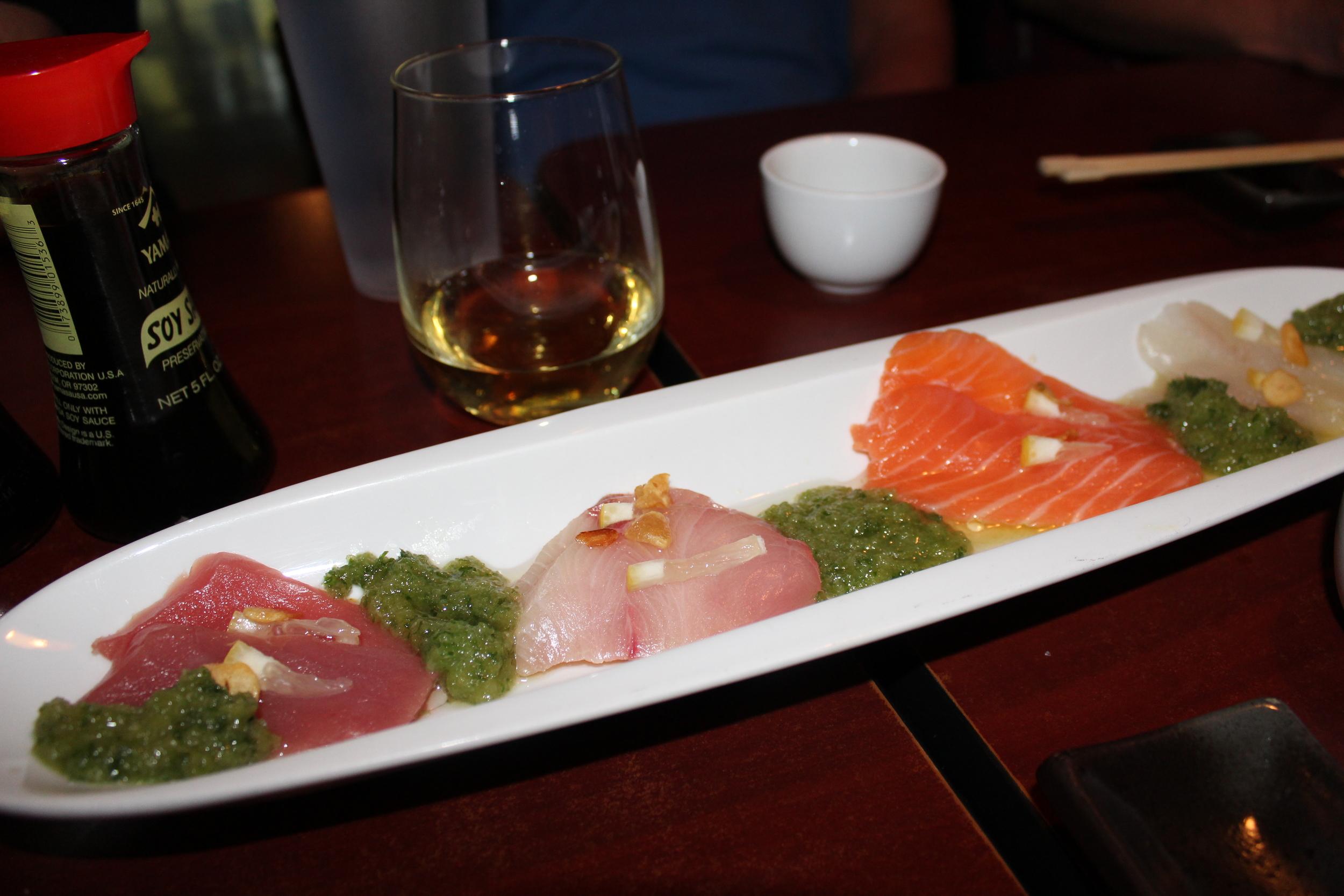 Rainbow Carpaccio (Tuna, Yellowtail, Salmon and Sea Bass)