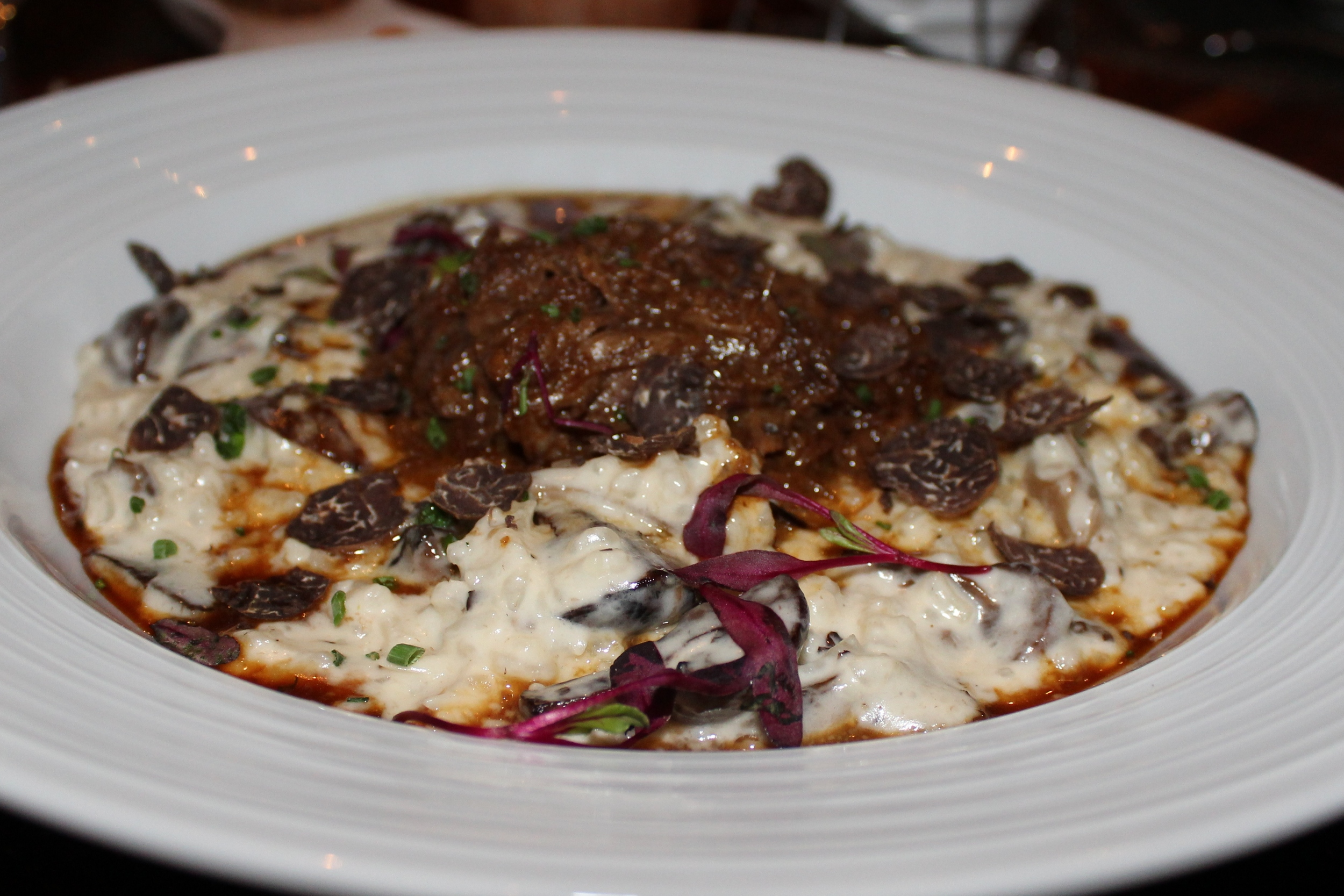 Parmesan risotto with short ribs and truffles.
