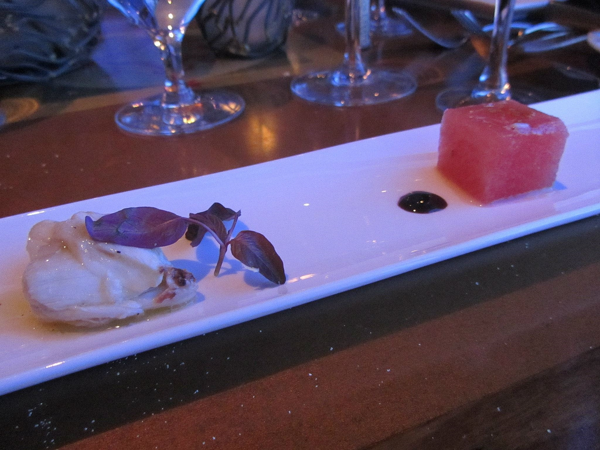 Lump crab with blood orange vinaigrette and compressed watermelon.