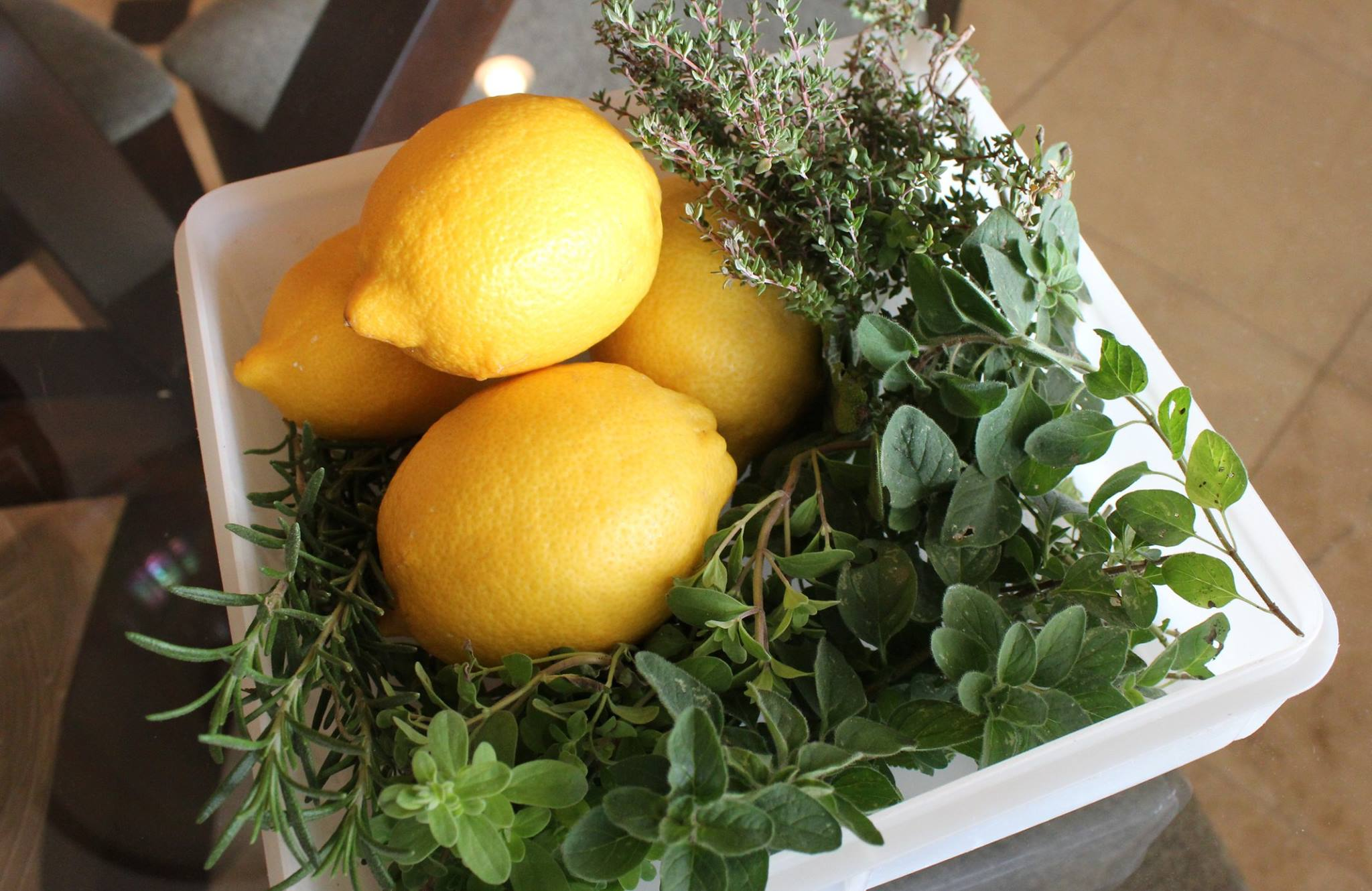 Lemons, thyme, oregano, rosemary and marjoram from the garden.