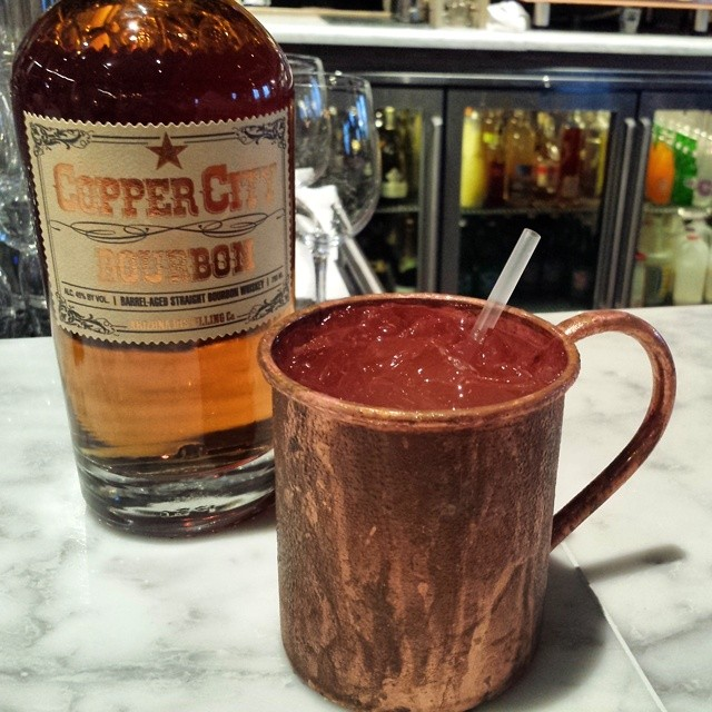 A pre-dinner cocktail at Proof: Copper City Mule