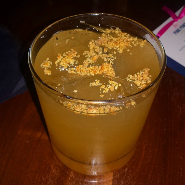 """One if by Desert"" (AZ Distilling Co Desert Dry Gin, fresh citrus, housemade cardamom-marjoram soda, and citrus-ginger brittle)"