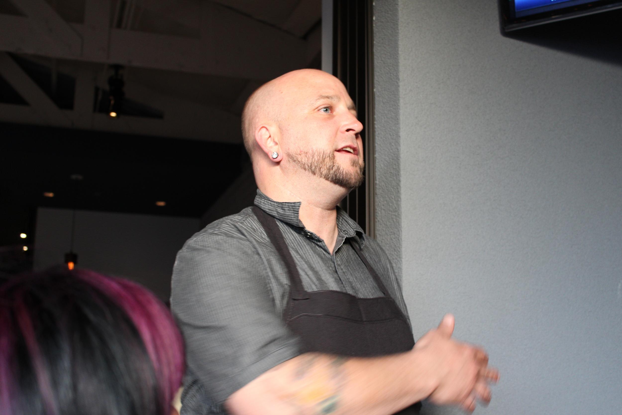 Chef Stephen Eldridge describing his menu
