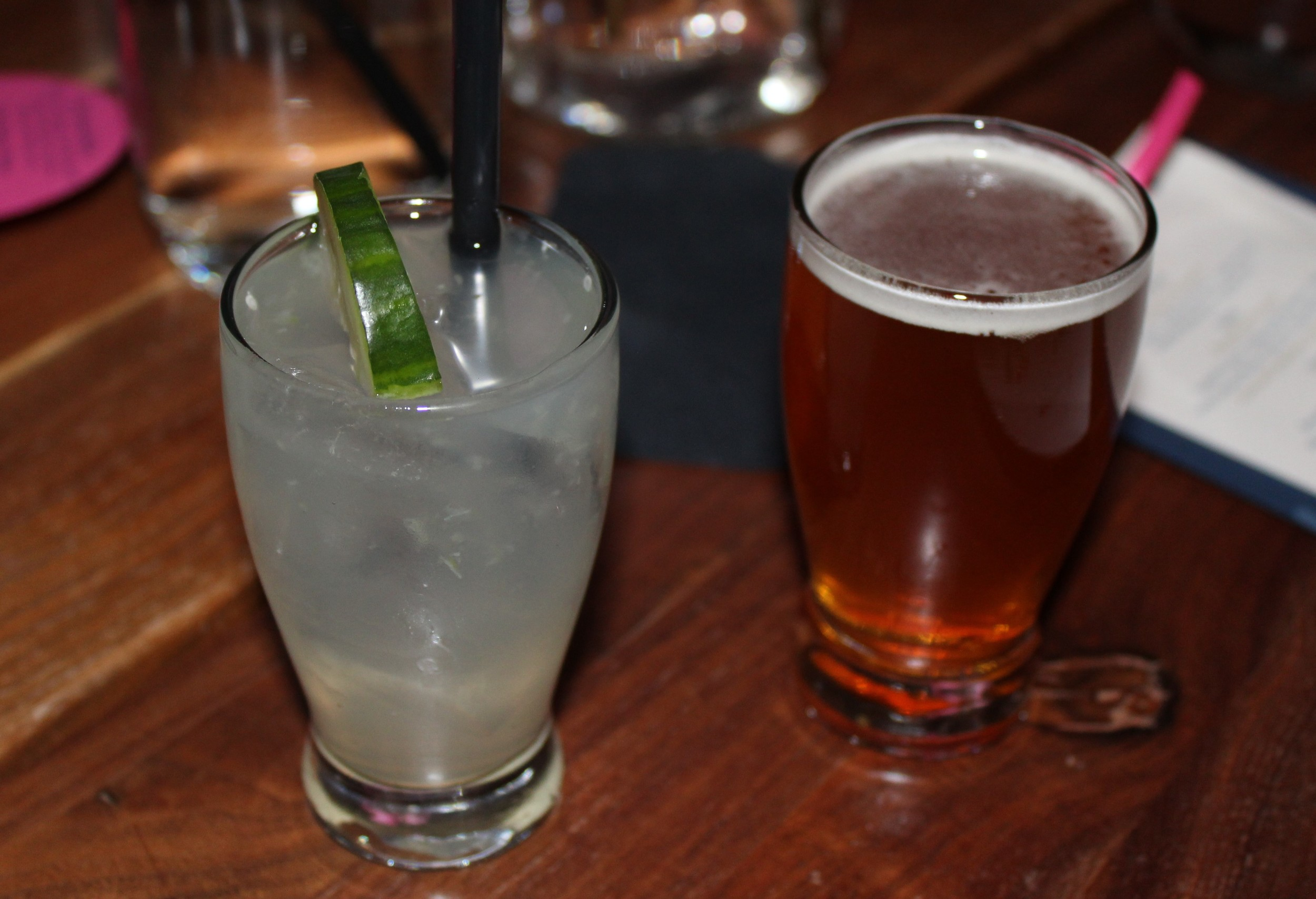 Cucumber Gimlet (Desert Dry Gin, lime, muddled cucumber) and THAT Arizona Trail Ale