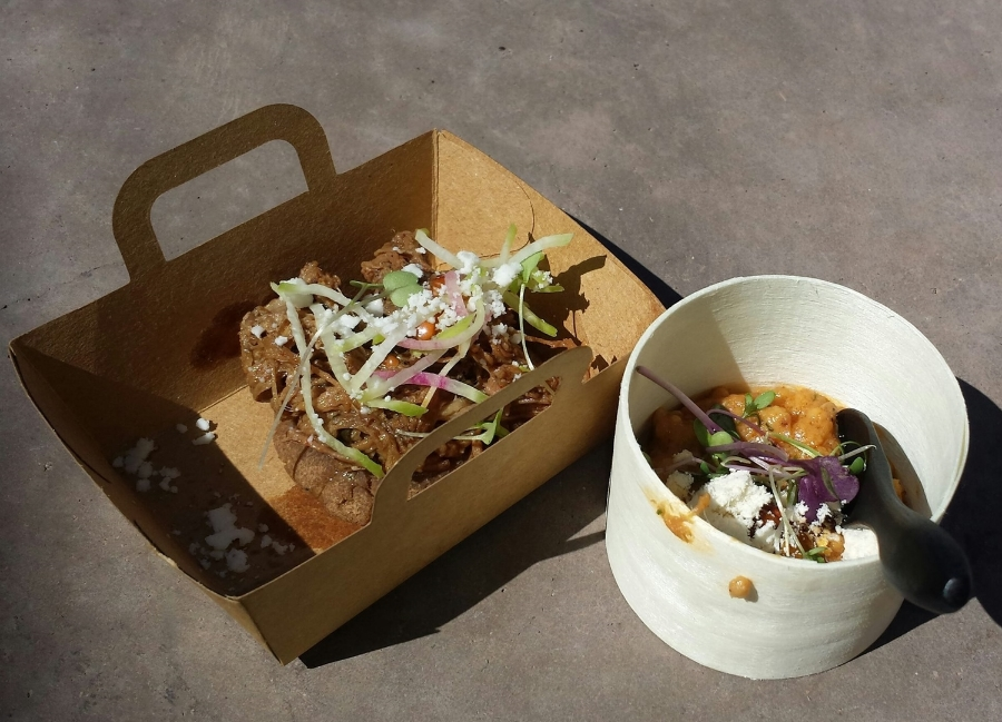 Kai's Sonoran wheat berry rice pudding with duck confit and foie gras and mesquite arepa with wild game machaca