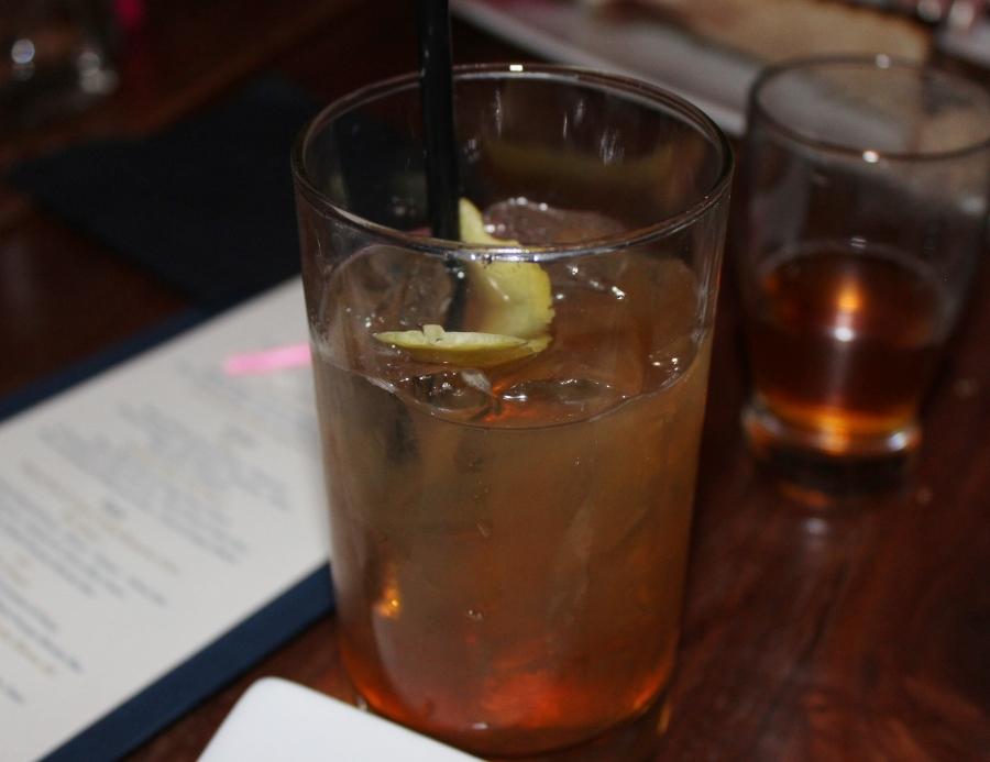 """""""Golden Gate Sazerac"""" (St. George Whiskey and Absinthe Verte, Peychaud's bitters, demerara, orange peel, Anchor Steam)"""