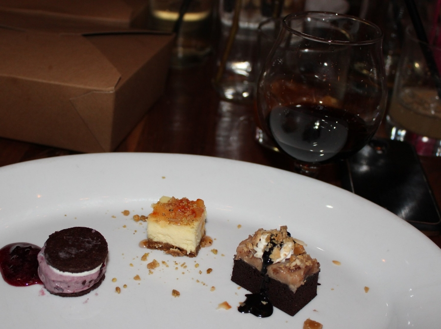 Blueberry ice cream sandwich, cheesecake, and German Chocolate cake paired with Superstition Meadery Safeword.