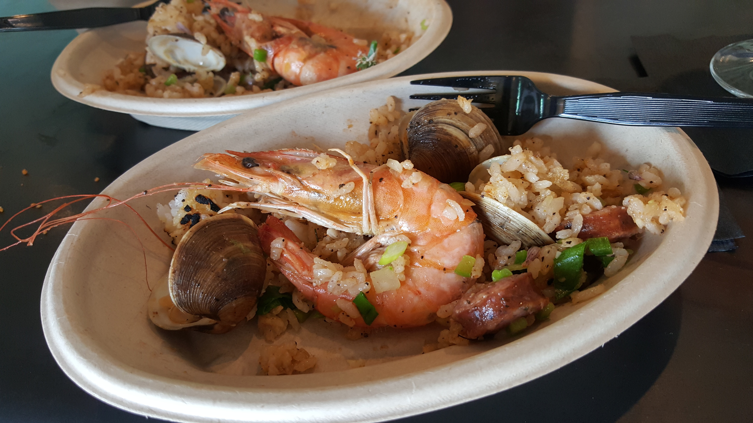Low Country Perlou with shrimp, clams and andouille sausage