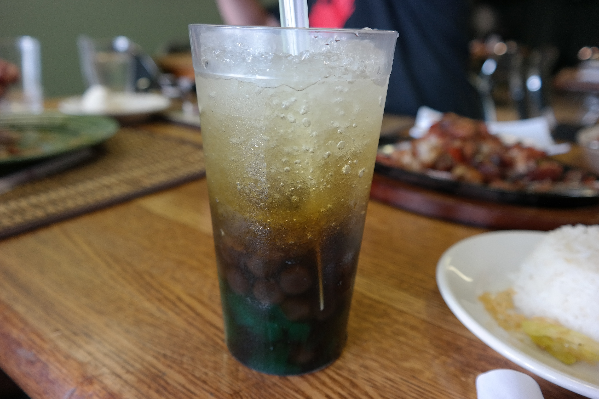 Sago at gulaman (a Filipino drink with gelatin, tapioca pearls, crushed ice).