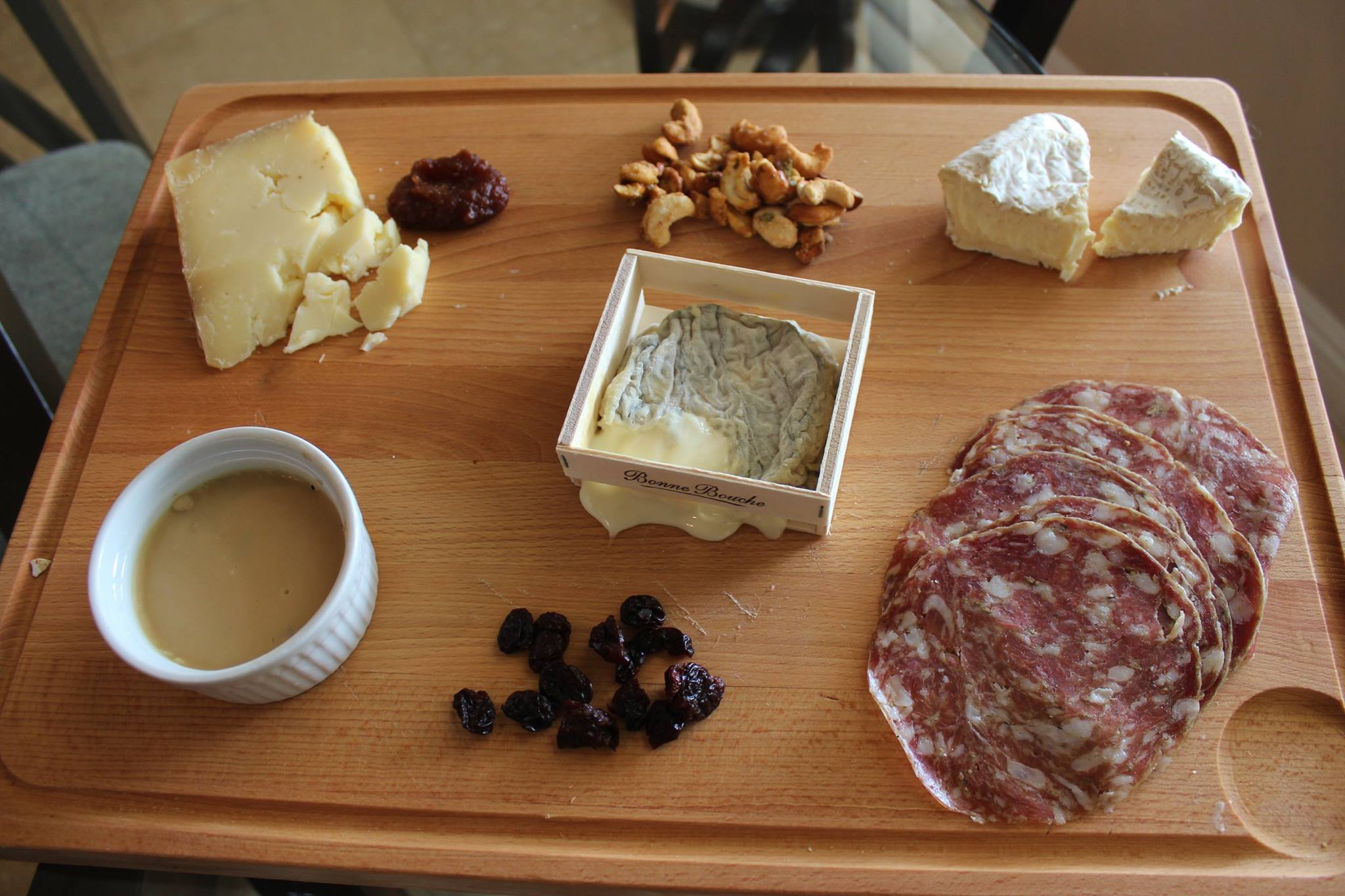 Flory's Truckle with quince compote, nuts, Mt. Tam, finocchiona, dried cherries, homemade pork rillettes and Bonne Bouche