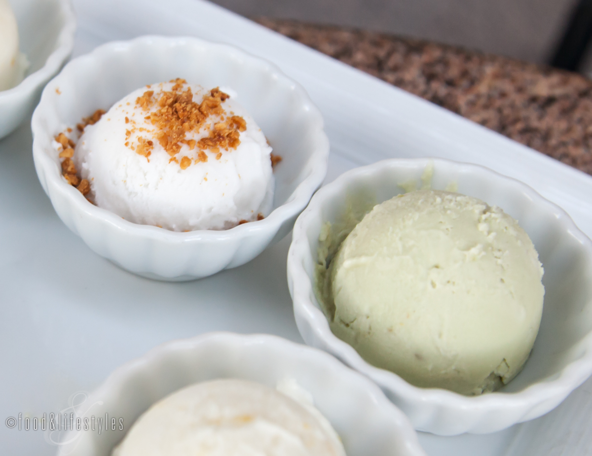 Coconut and avocado ice creams