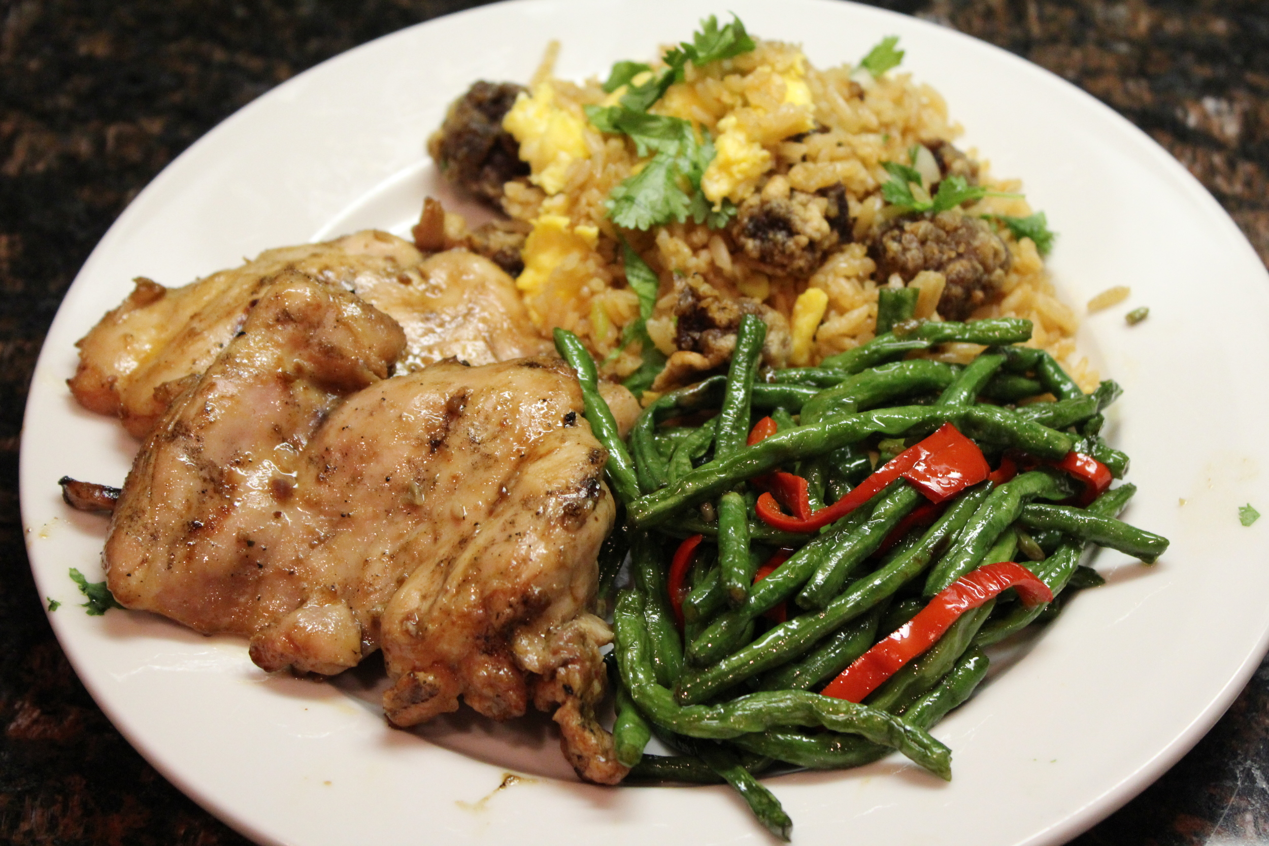 Teriyaki chicken with Chinese long beans and pork belly fried rice.