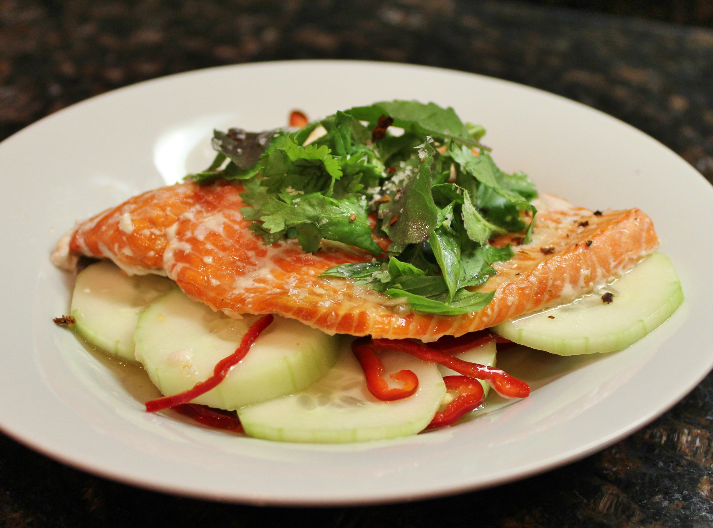 Sockeye salmon with spicy cucumbers and nuoc cham