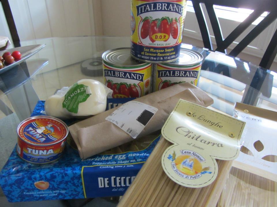 Pappardelle, chitarra, Verrigni spaghettoro, Italian tuna, sopressata, scamorza, & San Marzano tomatoes