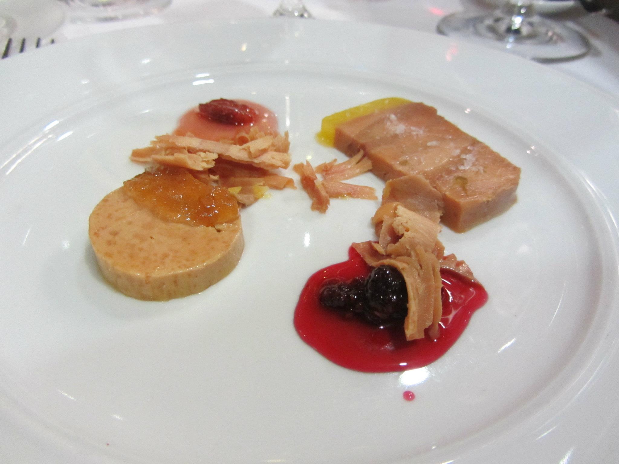 Foie gras terrine, torchon, and shavings.