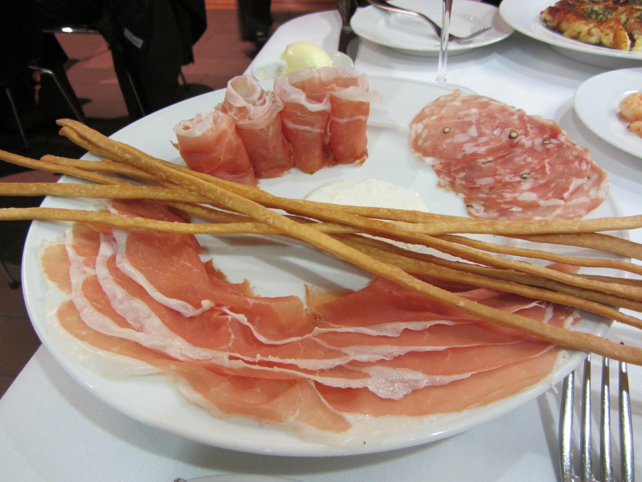 Salumi - Prosciutto di San Daniele riserva, speck Alto Adige, Fra'Mani salame toscano, rafano (horseradish creme fraiche), and grissini.
