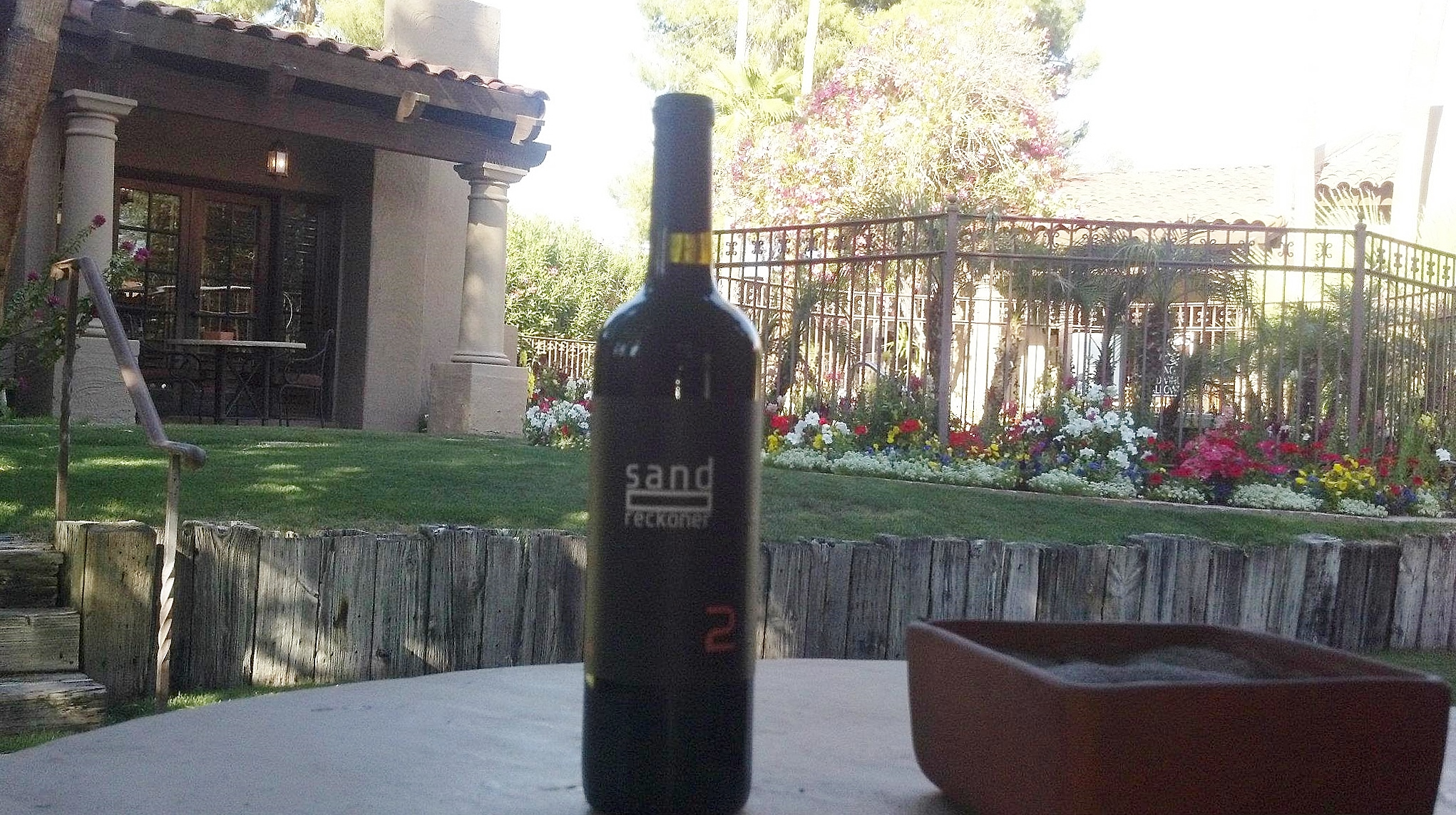 Arizona wine on our patio