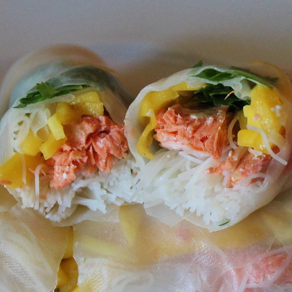 Salmon and mango rice paper rolls