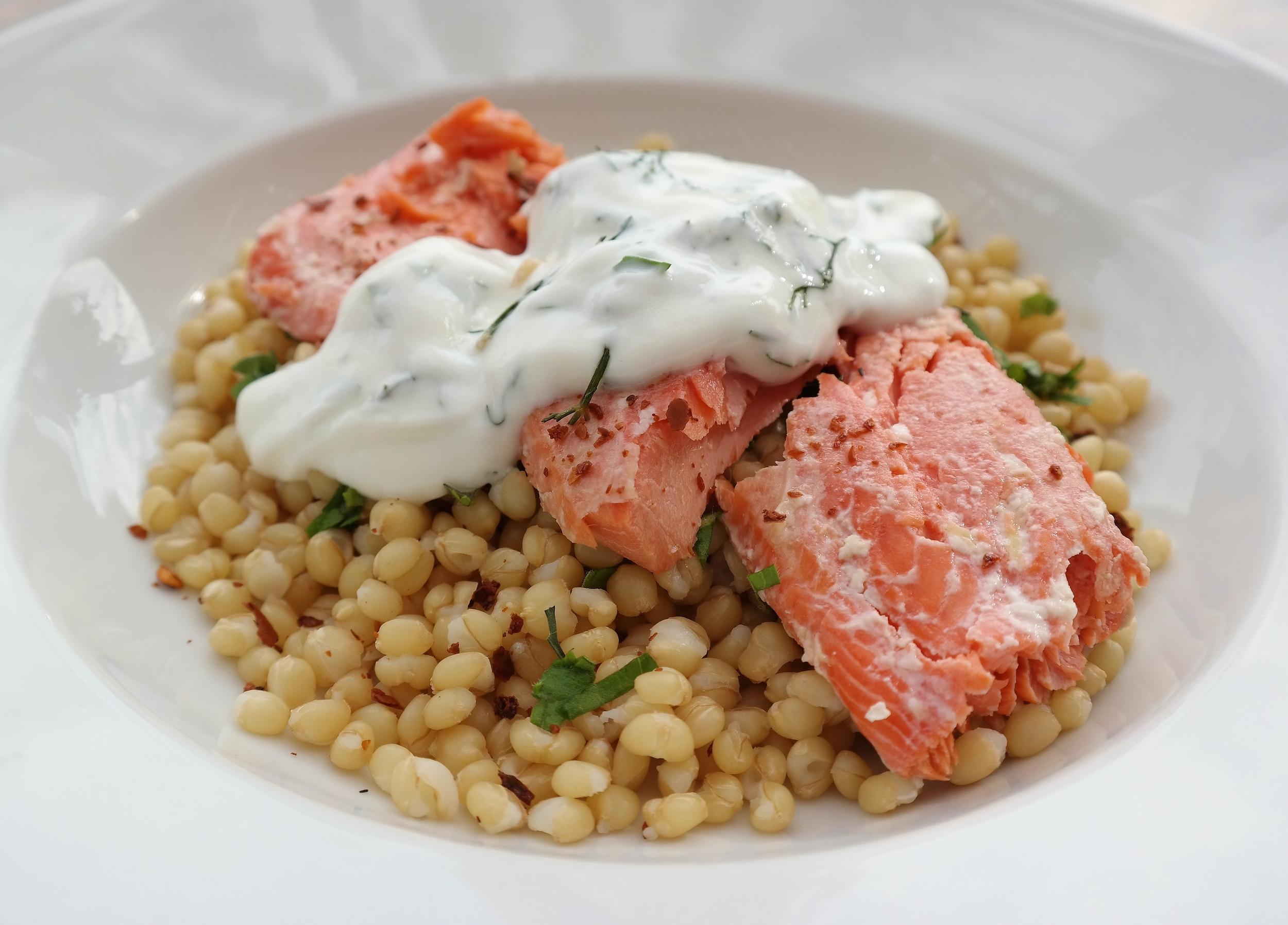 Sockeye salmon with Israeli couscous and dill yogurt sauce