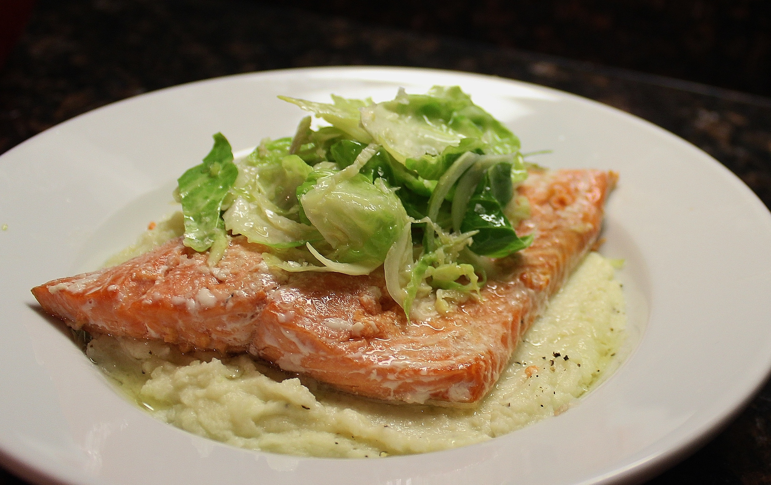 Sockeye salmon with cauliflower mash and brussels sprouts, lemon vinaigrette