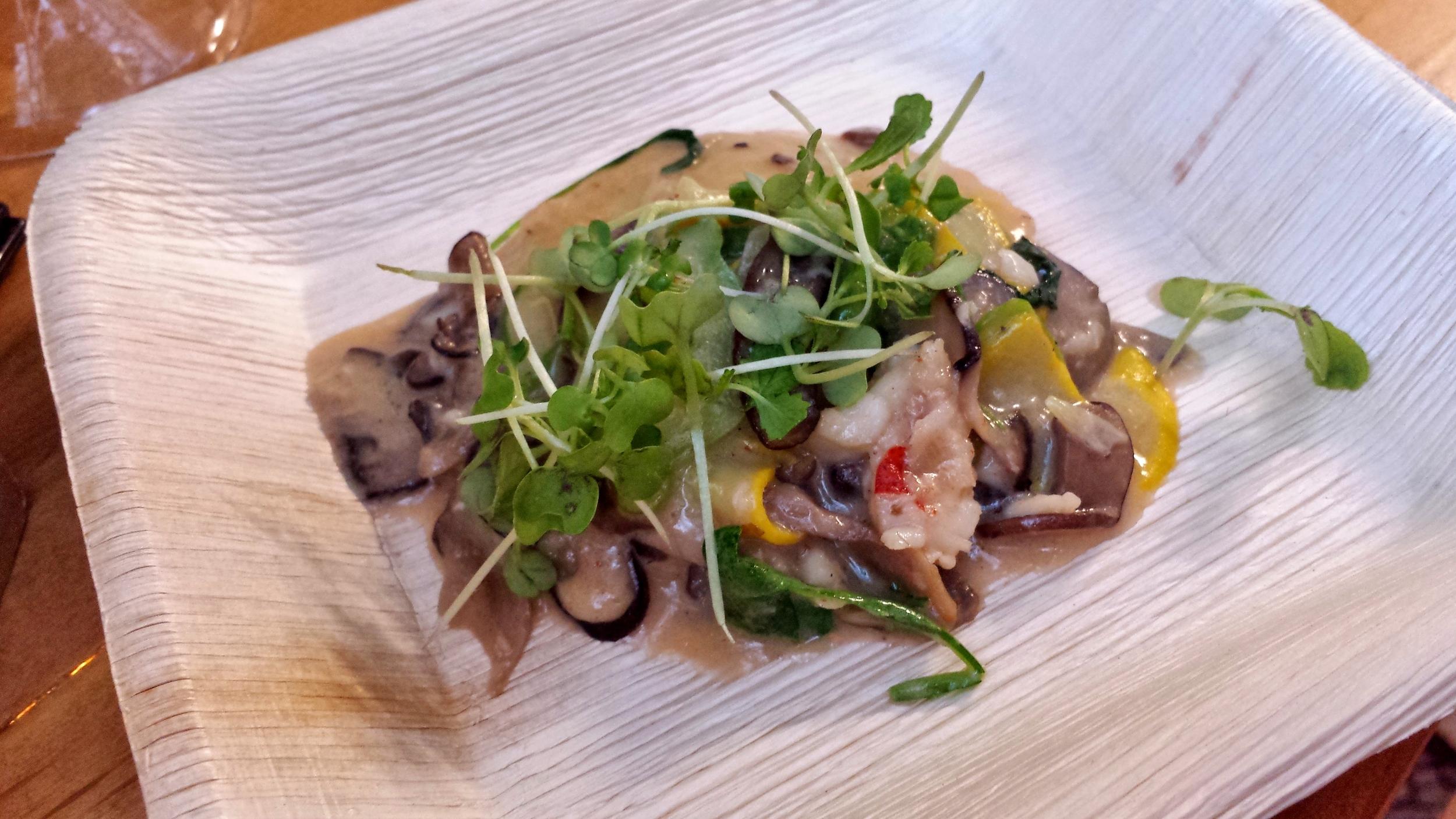 Talavera's ravioli with mushroom and lobster ragout